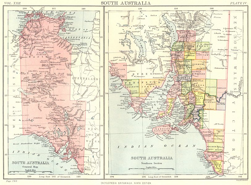 Map Of South Australia And Northern Territory.Details About South Australia Showing Counties Northern Territory Britannica 9th Ed 1898 Map