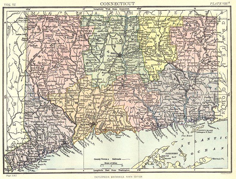 Associate Product CONNECTICUT. State map showing counties. Britannica 9th edition 1898 old