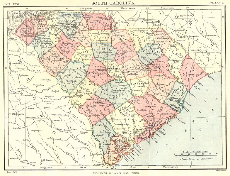 Associate Product SOUTH CAROLINA. State map showing counties. Britannica 9th edition 1898