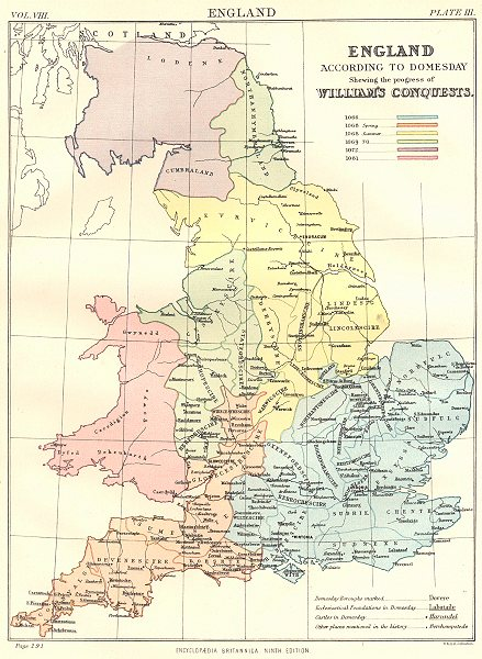 Associate Product DOMESDAY ENGLAND. Progress of William's conquests 1066-1081. Britannica 1898 map