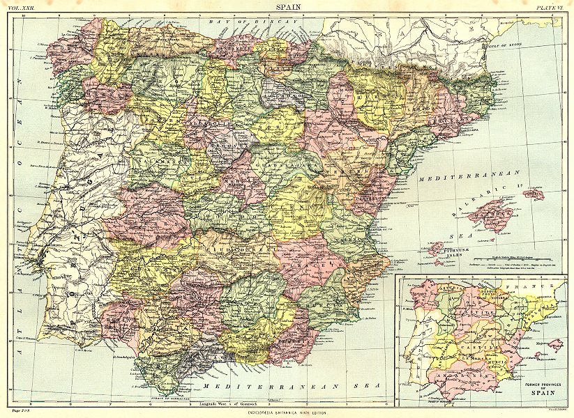 Associate Product SPAIN. Inset former provinces of Spain. Britannica 9th edition 1898 old map