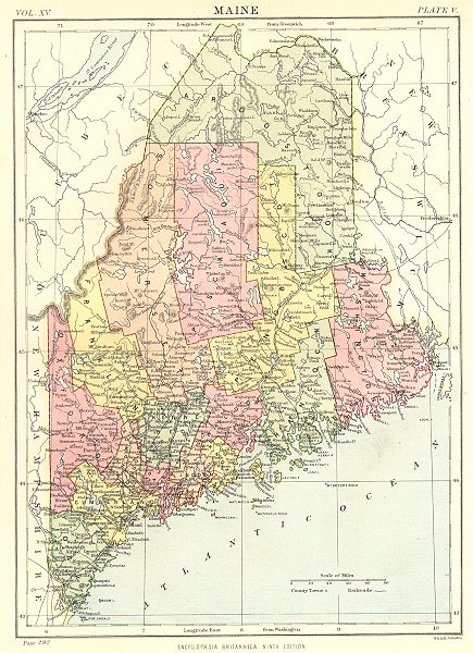 Associate Product MAINE. State map showing counties. Britannica 9th edition 1898 old antique
