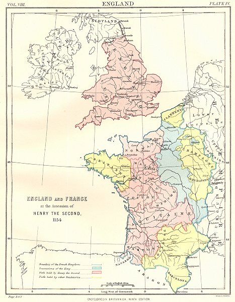 Associate Product ENGLAND & FRANCE. At accession of Henry II, 1154.Britannica 9th edition 1898 map