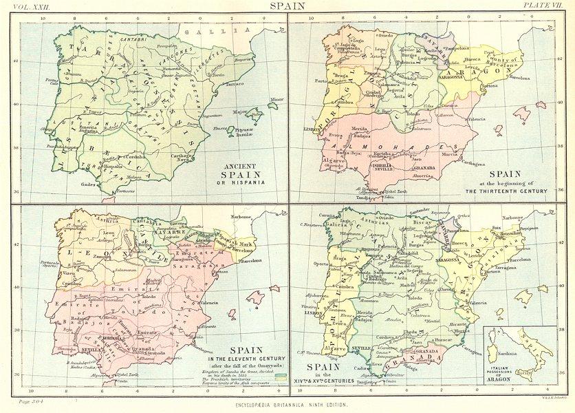 Associate Product SPAIN. Hispania; 1200 11C 14C 15C; Italian Possessions of Aragon. 1898 old map