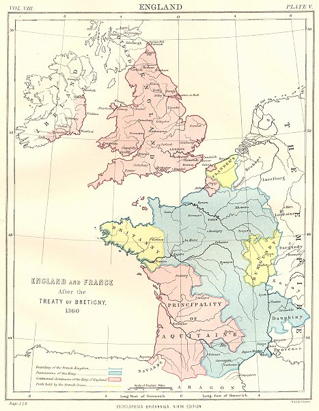 Associate Product ENGLAND & FRANCE. After the treaty of Bretigny 1360. Aquitaine Flanders 1898 map
