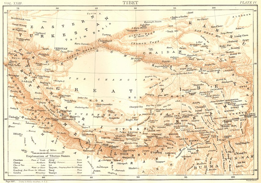 Associate Product TIBET. Britannica 9th edition 1898 old antique vintage map plan chart