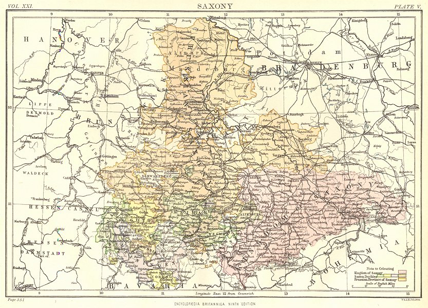 Associate Product SAXONY.Germany. Sachsen. Britannica 9th edition 1898 old antique map chart