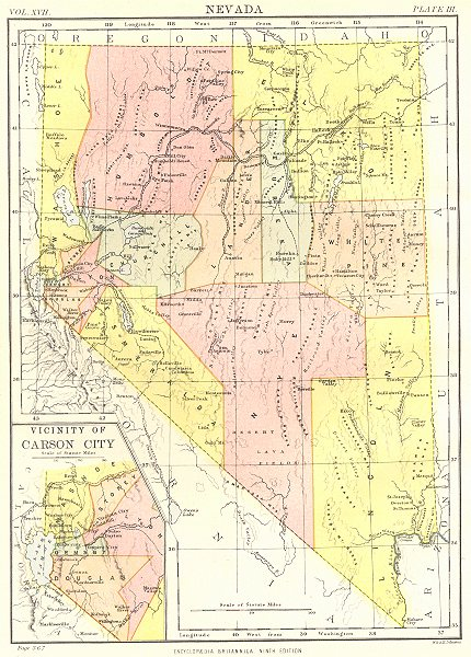 Associate Product NEVADA. State map showing counties.Inset Carson City.Britannica 9th edition 1898