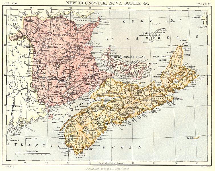 Associate Product CANADA. New Brunswick, Nova Scotia, Prince Edward Island. Britannica. 1898 map