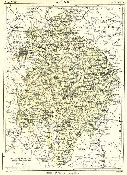 Associate Product WARWICKSHIRE. Showing 1885 Parliamentary divisions.Britannica.County map 1898