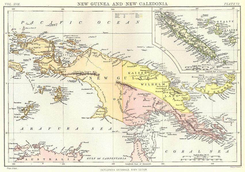 Associate Product PAPAU NEW GUINEA & NEW CALEDONIA.Irian Jaya.Loyalty Islands. Britannica 1898 map