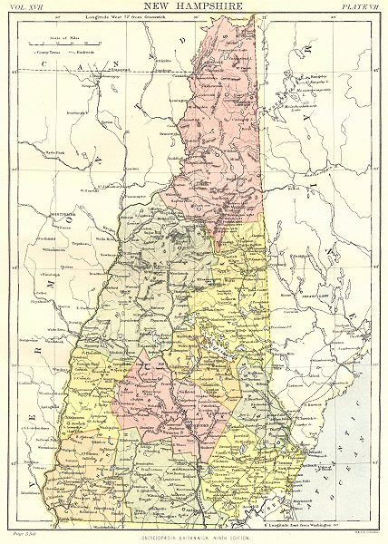 Associate Product NEW HAMPSHIRE. State map showing counties. Britannica 9th edition 1898 old