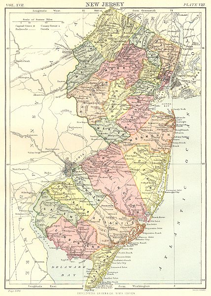 Associate Product NEW JERSEY. State map showing counties. Britannica 9th edition 1898 old