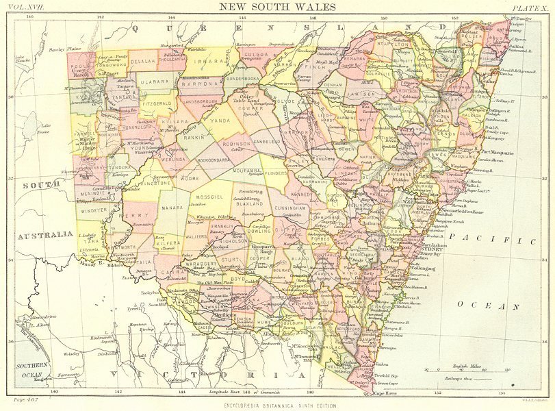 Associate Product NEW SOUTH WALES. Australia. Showing counties. Britannica 9th edition 1898 map