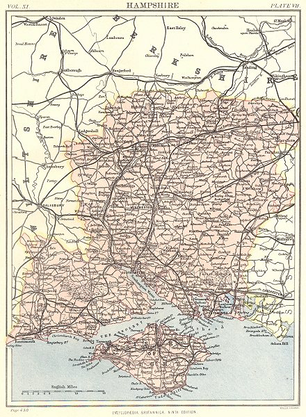 Associate Product HAMPSHIRE. Britannica 9th edition County map 1898 old antique plan chart