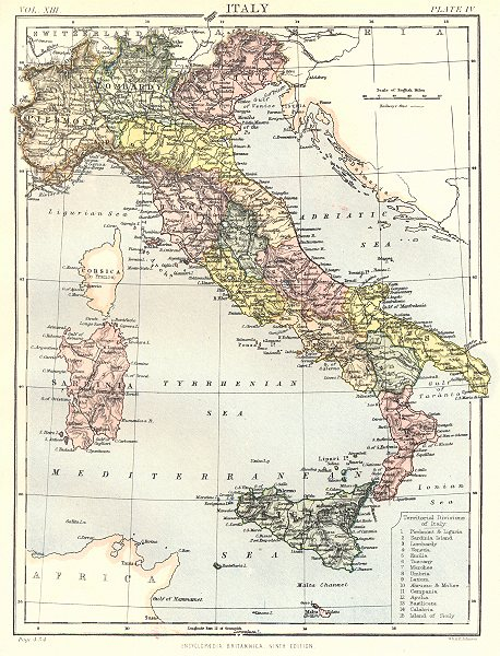Associate Product ITALY. Showing provinces. Britannica 9th edition 1898 old antique map chart