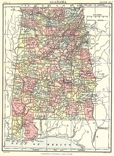 Associate Product ALABAMA. Showing counties. Britannica 9th edition 1898 old antique map chart