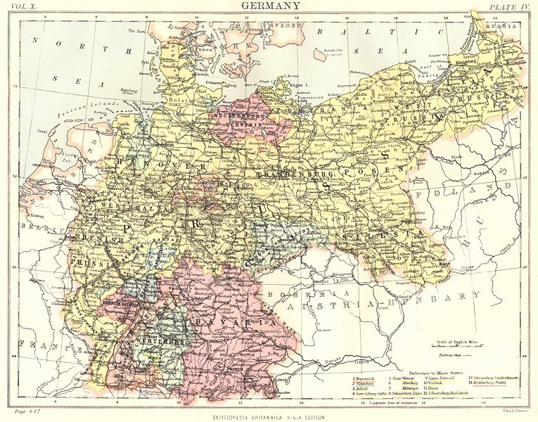 Associate Product GERMANY. Showing states. Britannica 9th edition 1898 old antique map chart