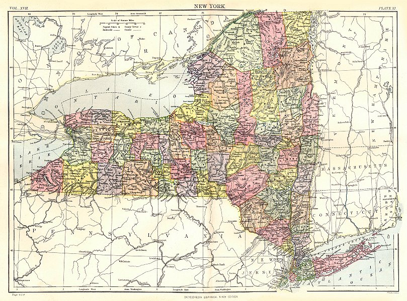 NEW YORK. State map showing counties. Britannica 9th edition 1898 ...