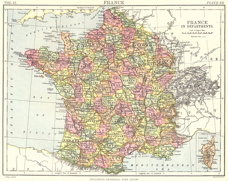 Associate Product FRANCE. departments departements; Inset Corsica. Britannica 9th edition 1898 map