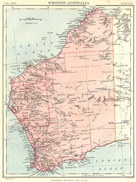 Associate Product WESTERN AUSTRALIA. Showing divisions. Britannica 9th edition 1898 old map