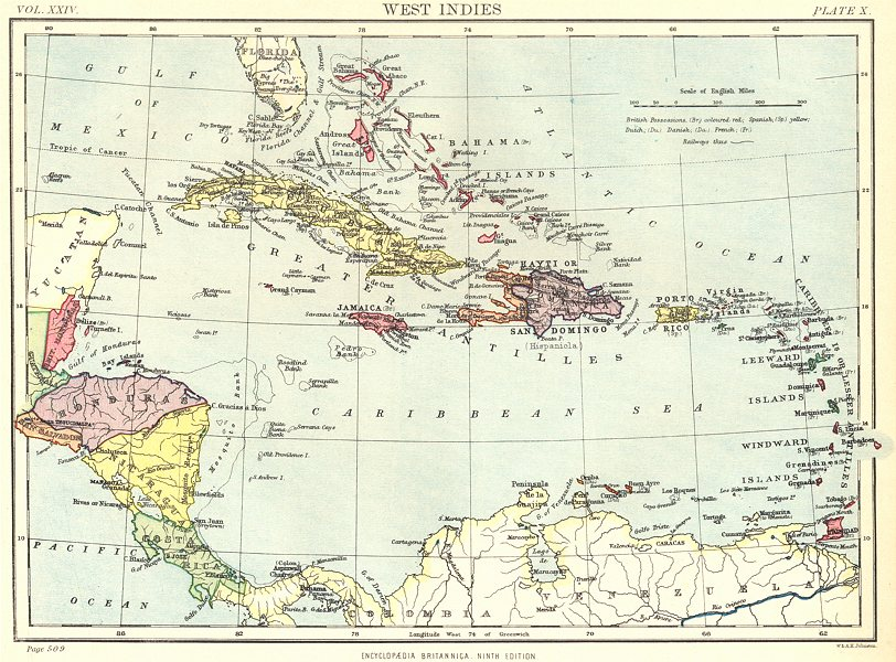 Associate Product CARIBBEAN. West Indies & Central America. Britannica 9th edition 1898 old map