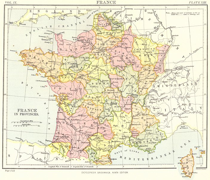 Associate Product FRANCE. in Provinces. Britannica 9th edition 1898 old antique map plan chart
