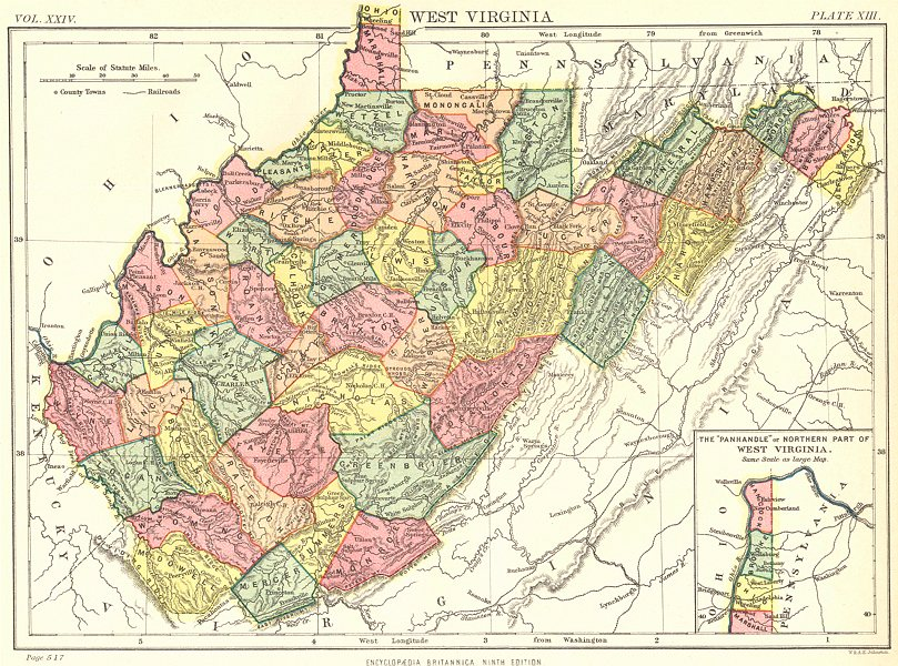 Associate Product WEST VIRGINIA. State map showing counties. Britannica 9th edition 1898 old