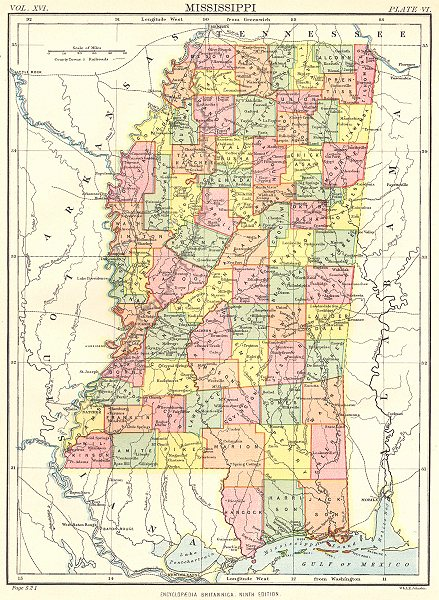Associate Product MISSISSIPPI. State map showing counties. Britannica 9th edition 1898 old