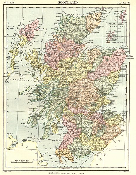 Associate Product SCOTLAND. Showing counties. Britannica 9th edition 1898 old antique map chart