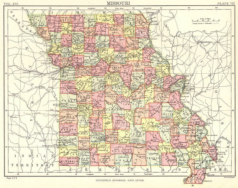 Associate Product MISSOURI. State map showing counties. Britannica 9th edition 1898 old