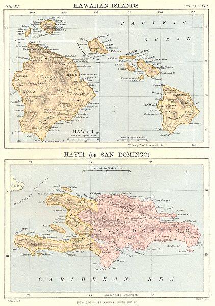 Associate Product HAWAII HISPANIOLA. Hawaiian Isles; Haiti San Domingo Dominican Republic 1898 map