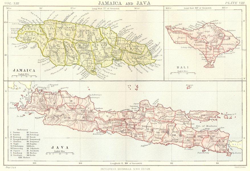 Associate Product ISLANDS. Jamaica Java & Bali. Britannica 9th edition 1898 old antique map