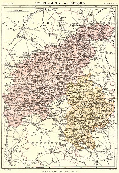 Associate Product NORTHAMPTONSHIRE & BEDFORDSHIRE. Britannica 9th edition County map 1898