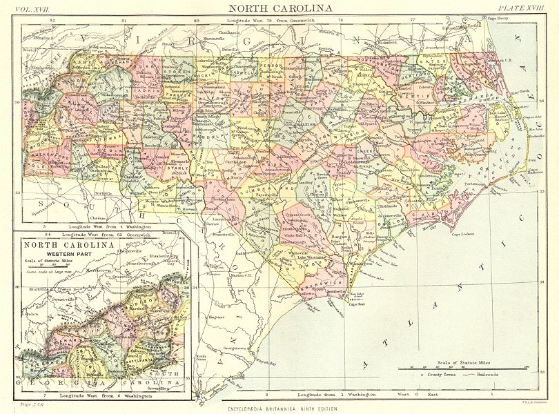 Associate Product NORTH CAROLINA. State map showing counties. Britannica 9th edition 1898