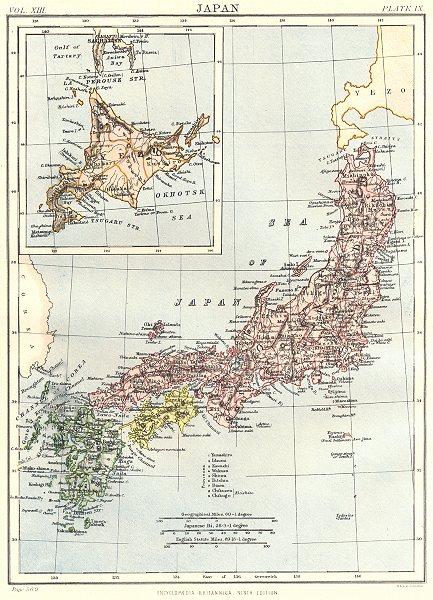 Associate Product JAPAN. Showing provinces. Inset map of Yezo Okhotsk Sea. Britannica 1898