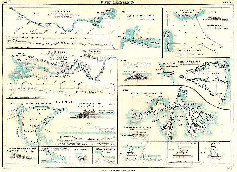 RIVER ENGINEERING. Tyne Adour Seine Danube Maas Mississippi Charleston 1898 map