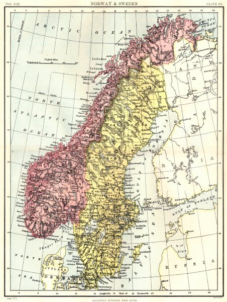 Associate Product SCANDINAVIA. Norway & Sweden. Britannica 9th edition 1898 old antique map