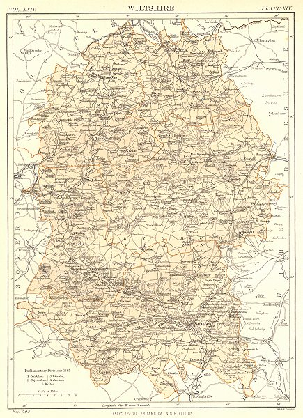 Associate Product WILTSHIRE. Showing 1885 Parliamentary divisions. Britannica. County map 1898
