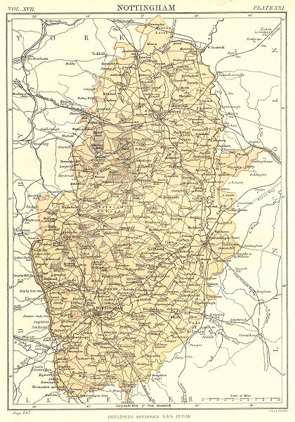 Associate Product NOTTINGHAMSHIRE. Britannica 9th edition County map 1898 old antique chart