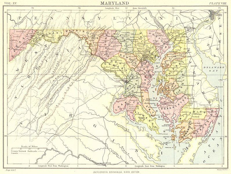 Associate Product MARYLAND. State map showing counties. Britannica 9th edition 1898 old