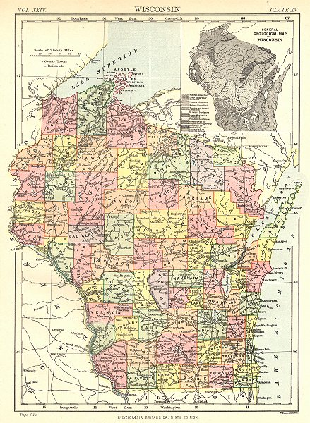 Associate Product WISCONSIN. State map showing counties. Inset Geological. Britannica 9th ed. 1898