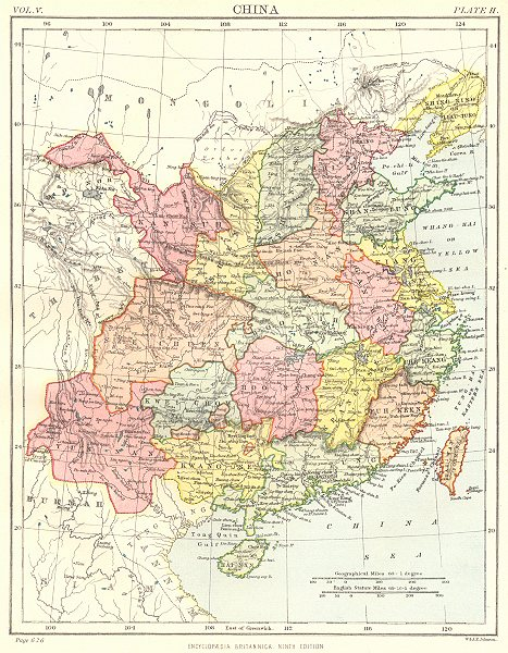 Associate Product CHINA. Showing provinces. Britannica 9th edition 1898 old antique map chart