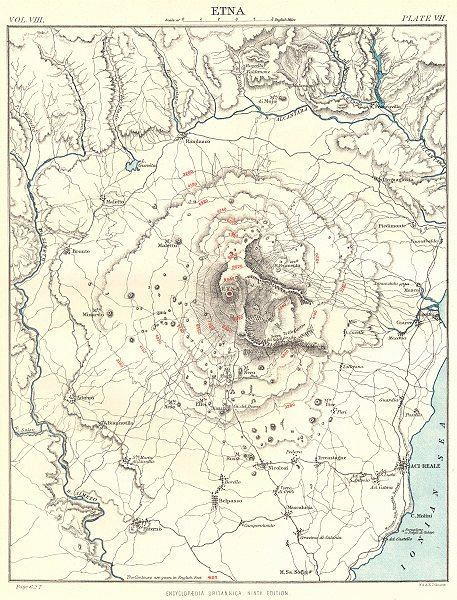Associate Product ETNA. Italy.  Britannica 9th edition 1898 old antique vintage map plan chart