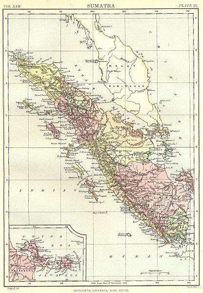 SUMATRA. Indonesia; Inset map of Bangka. Britannica 9th edition 1898 old