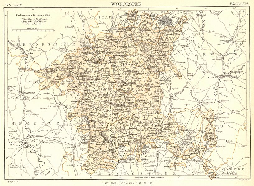 Associate Product WORCESTERSHIRE. Showing 1885 Parliamentary divisions. Britannica.County map 1898