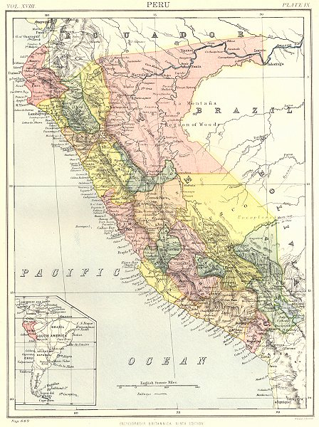 Associate Product PERU. Inset South America. Britannica 9th edition 1898 old antique map chart