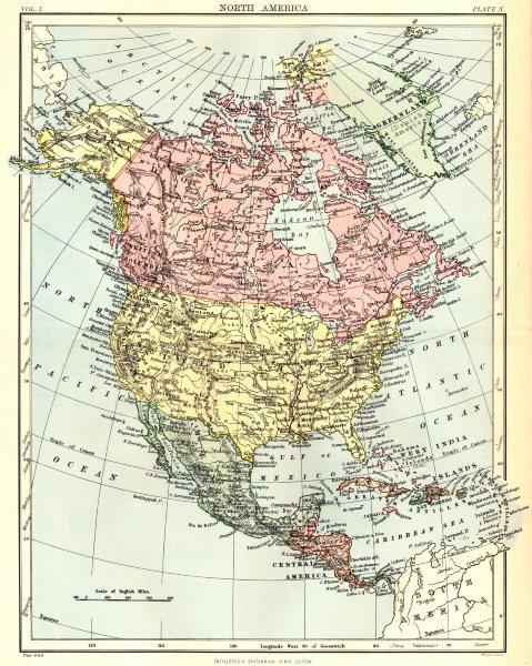 Associate Product NORTH AMERICA. United States Canada Mexico Central America. Britannica. 1898 map