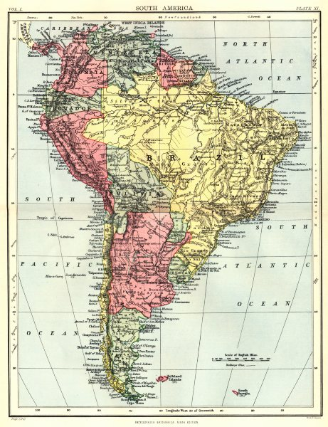 Associate Product SOUTH AMERICA. Britannica 9th edition 1898 old antique vintage map plan chart