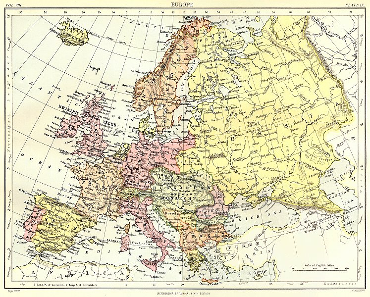 Associate Product EUROPE. Britannica 9th edition 1898 old antique vintage map plan chart